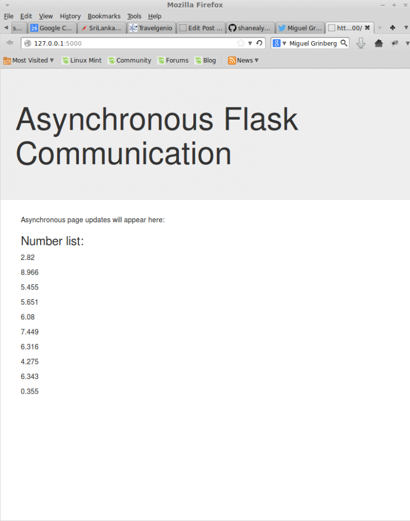 Asynchronous updates to a webpage with Flask and Socket io