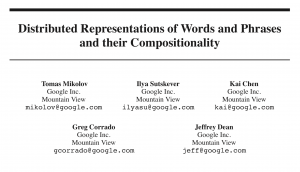 word embedding training paper title - word2vec from Google